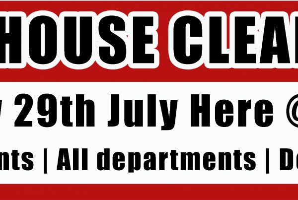 Warehouse Clearance Saturday 29th July