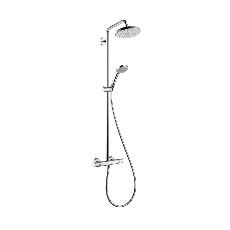 An image of Hansgrohe Croma 220 Showerpipe & 2jet Hand Shower