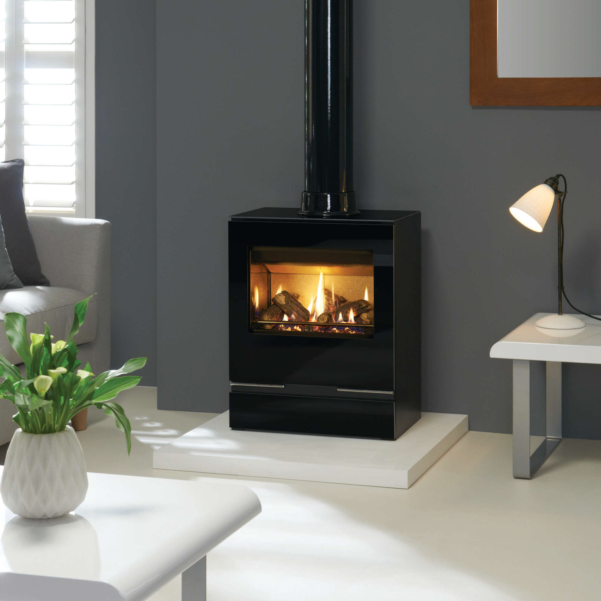 An image of Gazco Vision Medium Gas Stove - Conventional Flue - Natural Gas - Standard Remot...