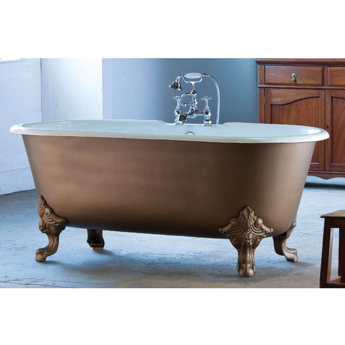 An image of Arroll Baths - The Cheverny Bath - Roll Top Bath - Blue Jade