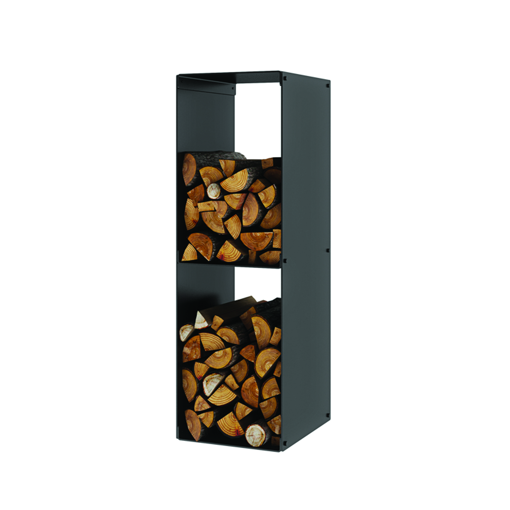 An image of Rais Firewood Rack Two Compartments - Black