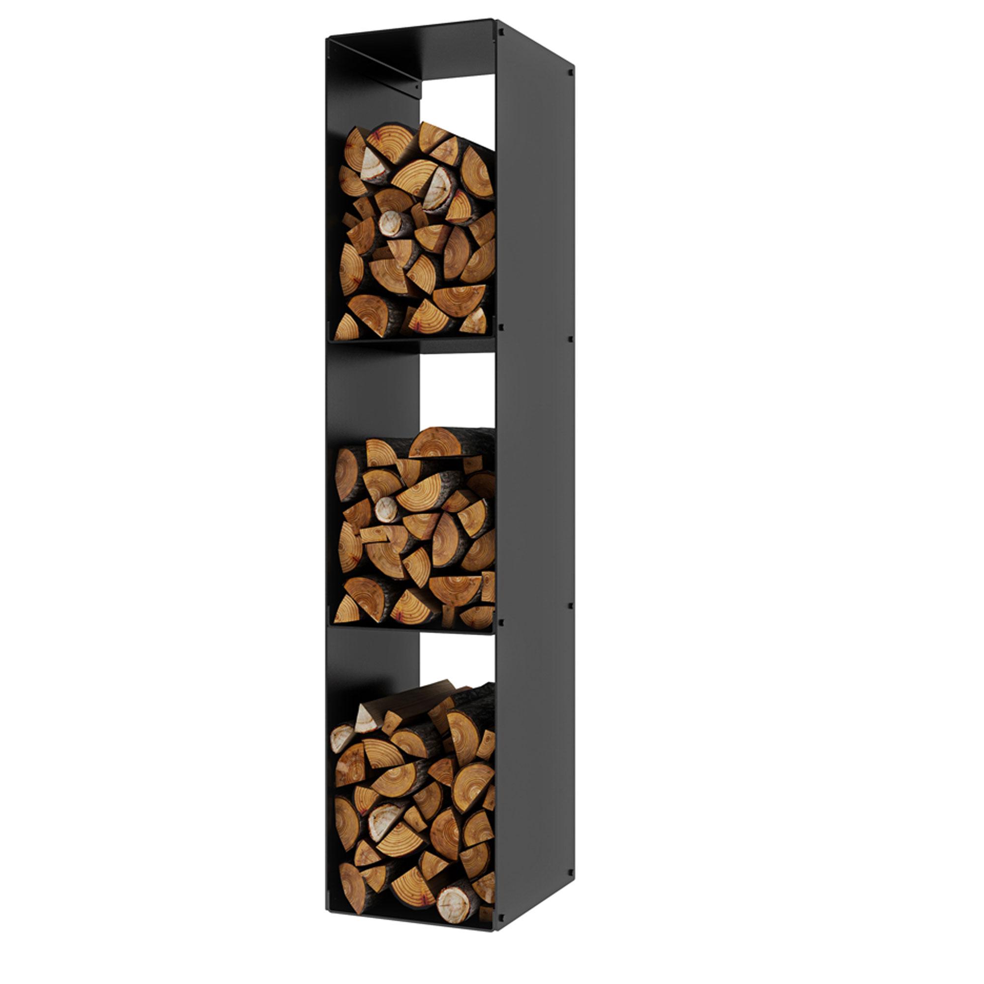 An image of Rais Firewood Rack Three Compartments - Black
