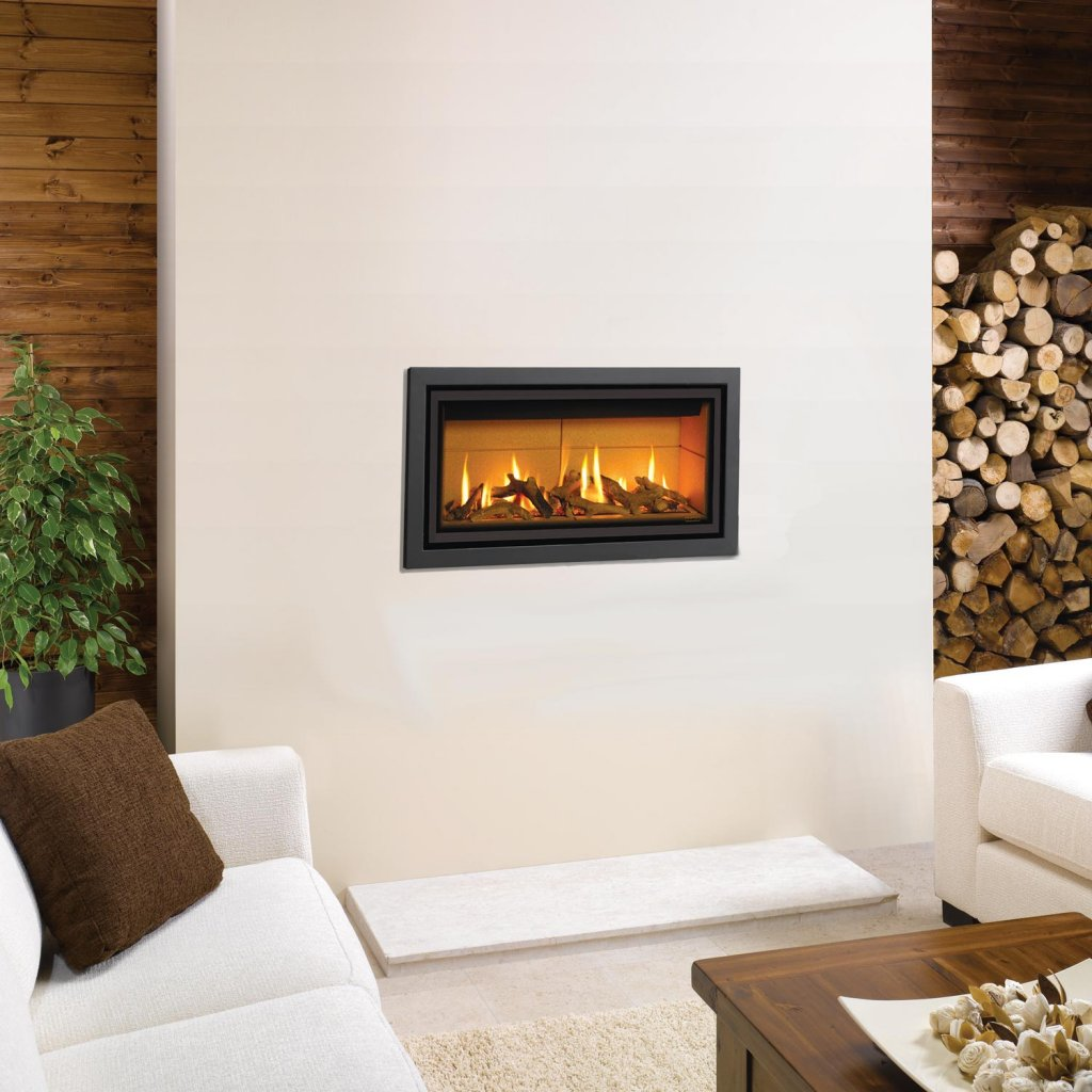 Gazco Gas Fires - Studio 1 Profil Glass Fronted Inset, Conventional Flue In Anthracite - Natural Gas