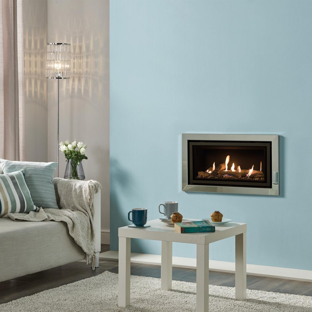Gazco Gas Fires - Studio 1 Profil Glass Fronted Inset, Conventional Flue In Polished Steel - Natural Gas