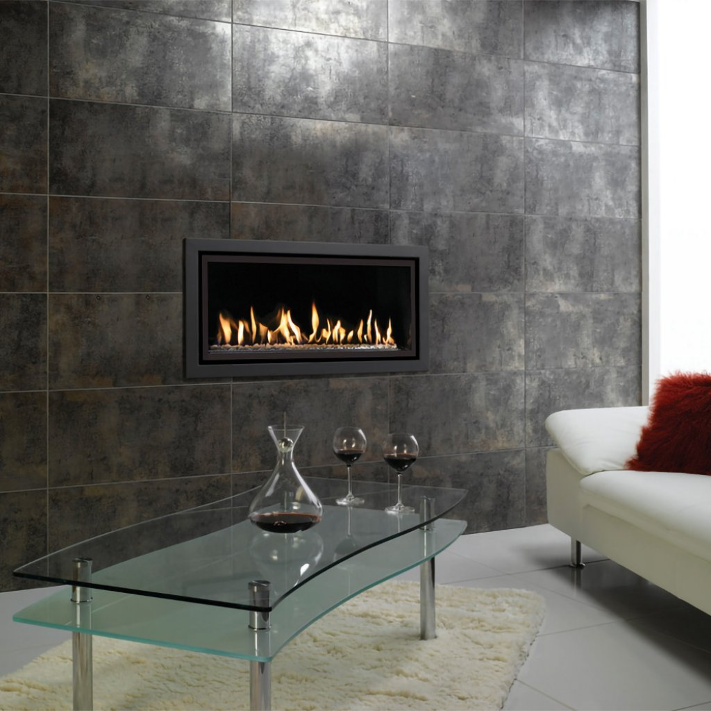 Gazco Gas Fires - Studio 2 Profil Glass Fronted Inset, Balanced Flue In Anthracite - Natural Gas