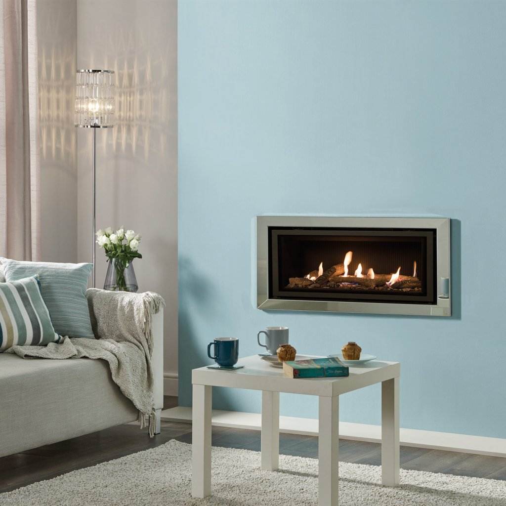 Gazco Gas Fires - Studio 2 Profil Glass Fronted Inset, Balanced Flue In Polished Steel - Natural Gas