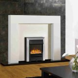 Gazco Logic2 Electric Arts Fire - Brushed Steel Frame, Black Front