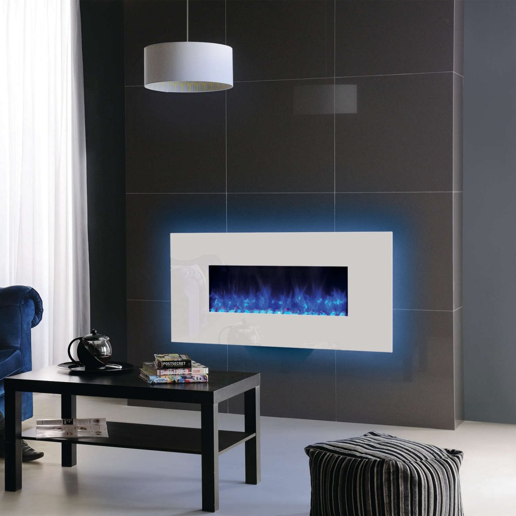 Gazco Radiance 80W Wall Mounted White Glass Electric Fire