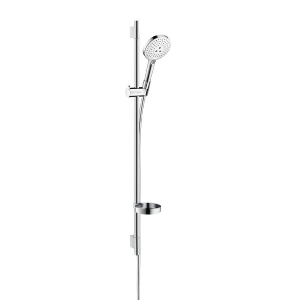 Hansgrohe Raindance Select S 120 Shower Set - With Unica 0.90m Wall Bar & Soap Dish