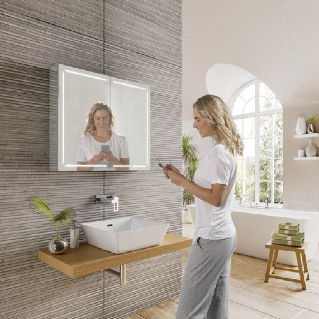 HIB Groove LED Demisiting Aluminium Mirrored Cabinet With Bluetooth Connectivity