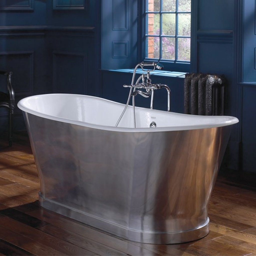 Imperial Radison Cast Iron Free Standing Bath Polished Aluminium Skirt