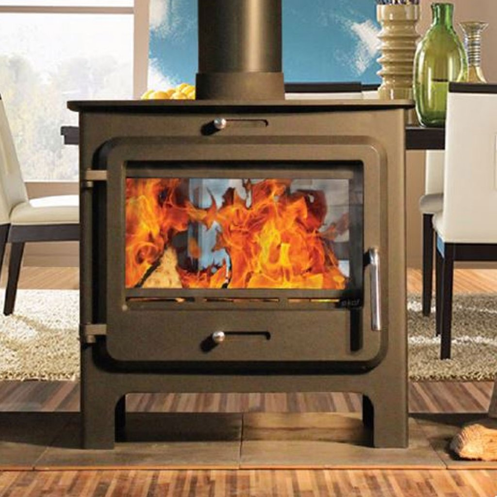 Ekol Clarity Double Sided Multi Fuel Stove in Black