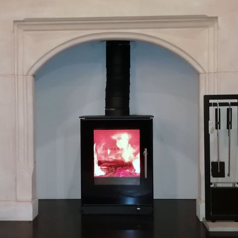 Rais Q-Tee Wood Burning Stove With Black Glass Door  - Special Offer