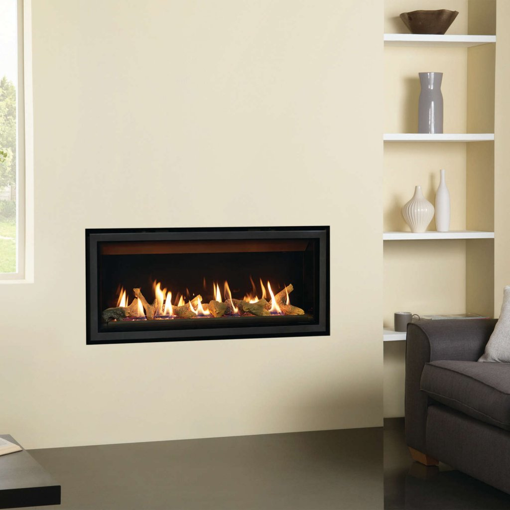 Gazco Gas Fires - Studio 2 Slimline Edge Glass Fronted Inset, Balanced Flue  - Natural Gas