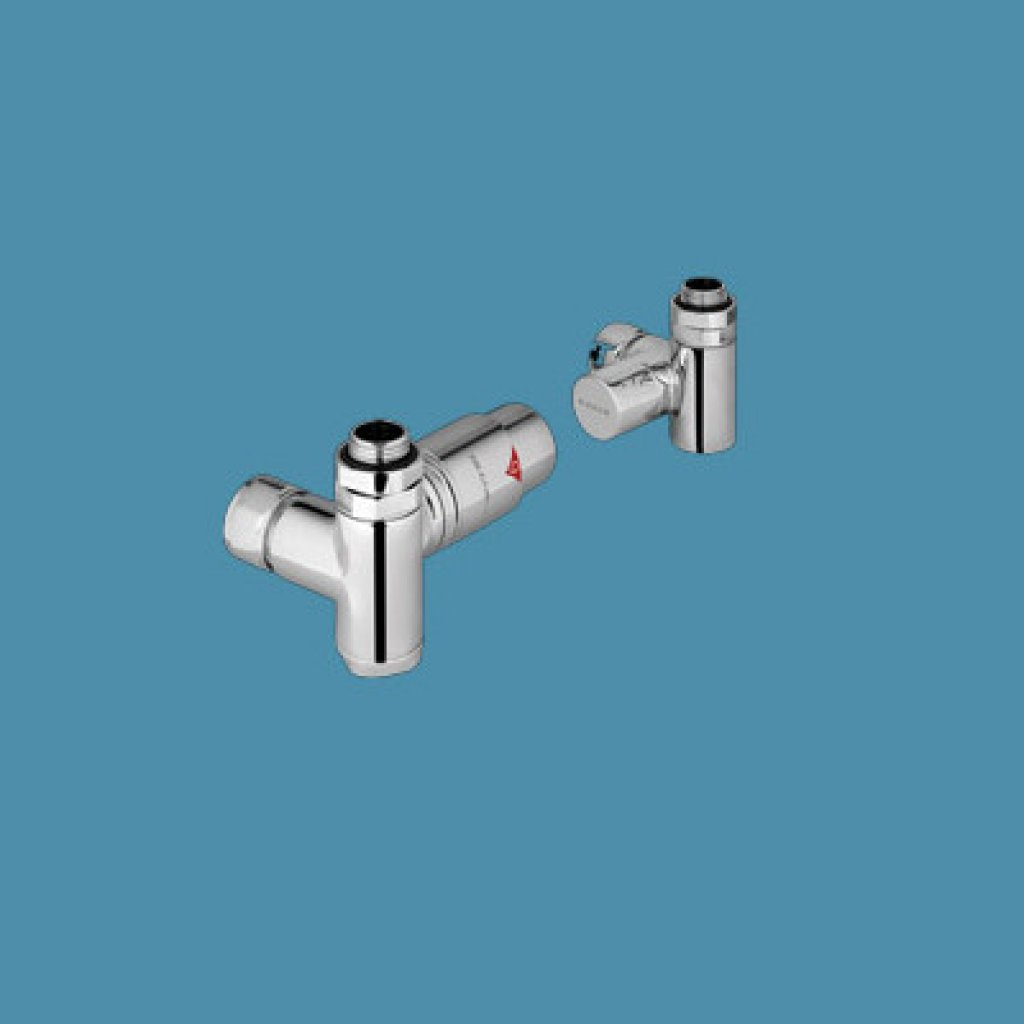 Bisque Towel Rail Valves - Duel Fuel Thermostatic Left Hand Flow Valve Set VL