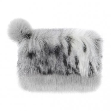 6a8c7f6d3c Helen Moore Faux Fur Pom Pom Clutch Bag - Arctic Leopard Opal
