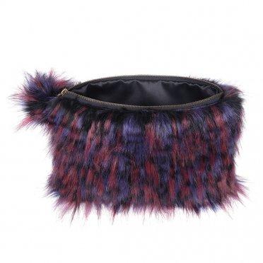 c97b54355e Helen Moore Faux Fur Pom Pom Clutch Bag - Berry