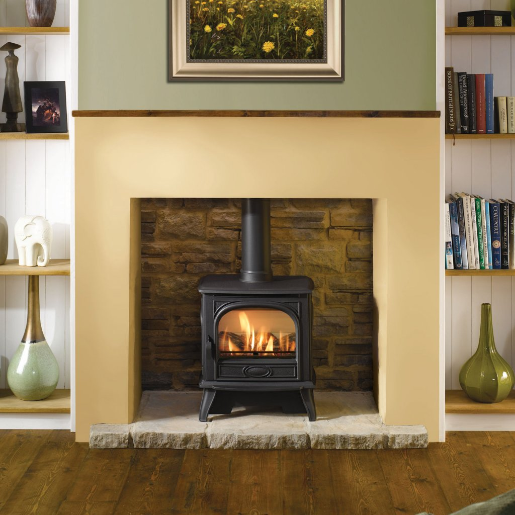 Dovre 280 Matt Black Cast Iron Gas Stove, Conventional Flue