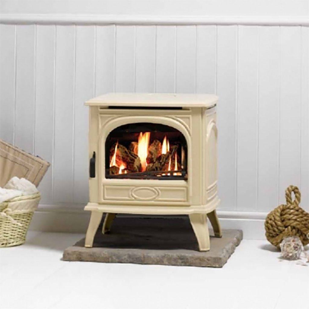 Clearance - Dovre Stoves - Dovre 280 Ivory Enamel Cast Iron LPG Stove, Conventional Flue - Includes 1 Meter Matching Ivory Flue Pipe