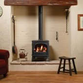 Dovre 425 Matt Black Cast Iron Natural Gas Stove, Balanced Flue