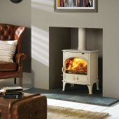 Dovre 425 Ivory White Enamel Single Door Multi Fuel Stove