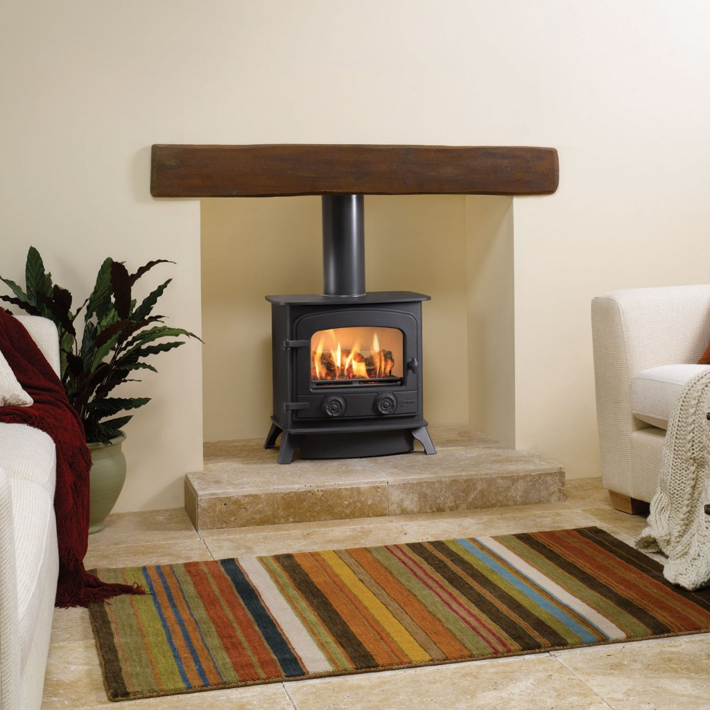 Yeoman Stoves - Exe, Gas, Balanced Flue With Log Fuel Effect & Optional Controls