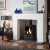 Gazco Stoves, Vogue Midi Gas Stove With Black Glass Lining - Conventional Flue