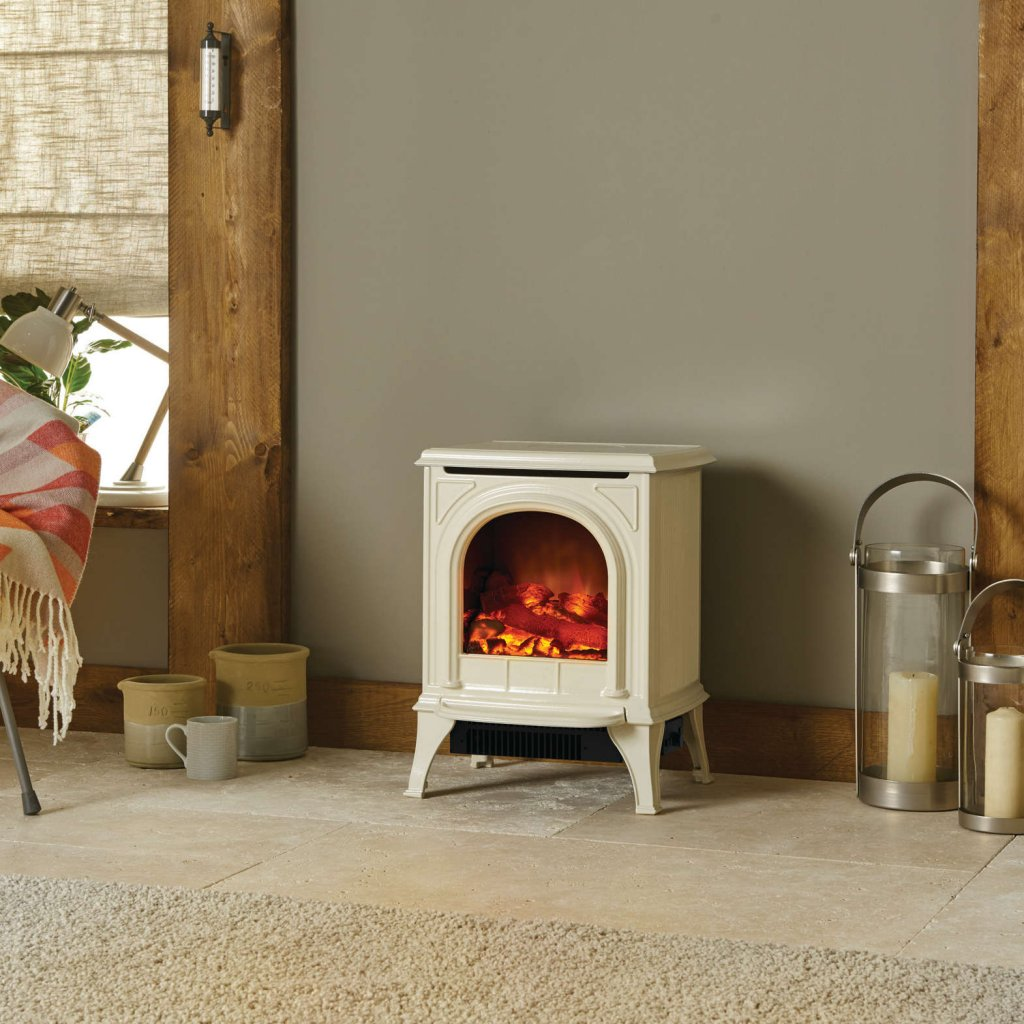 Huntingdon 20 Matt Ivory / Ivory Enamel Electric Stove With Remote Control & Optional Tracery Door Detail