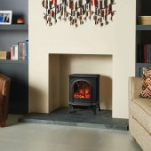 Huntingdon Stoves, Huntingdon 20 Matt Black Electric Stove With Remote Control & Optional Tracery Door Detail