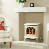 Huntingdon 30 Matt Ivory Electric Stove with Remote Control & Optional Door Detail