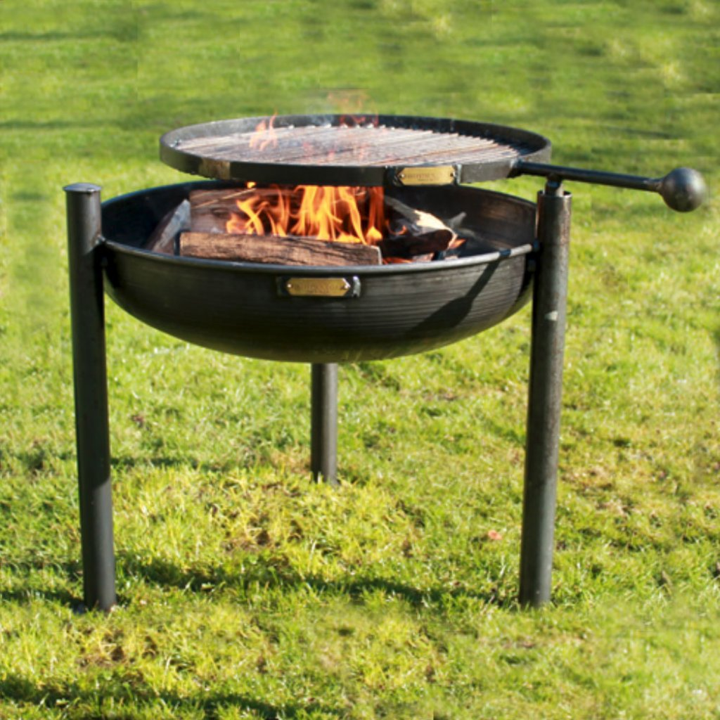 legs eleven fire pit with swing arm bbq rack a bell. Black Bedroom Furniture Sets. Home Design Ideas