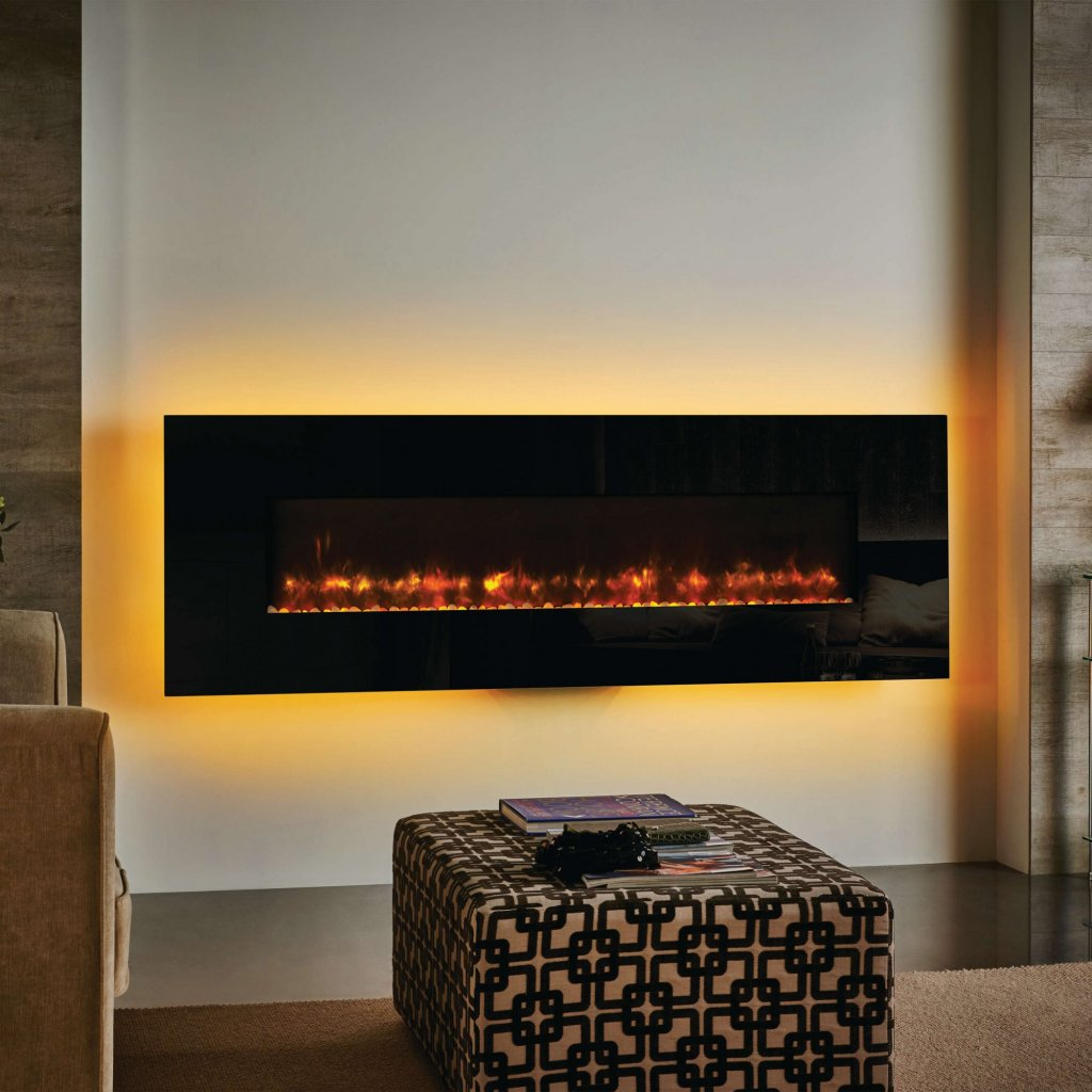 Gazco Radiance 150W Wall Mounted Black Glass Electric Fire