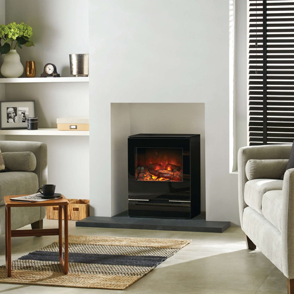 Riva Vision Medium Electric Stove In Black Glass With Remote Control & 2 Year Guarantee