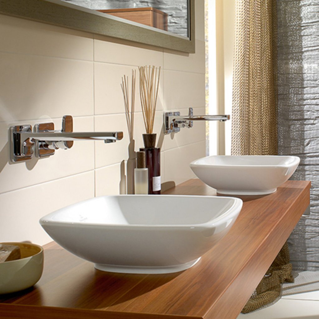 Villeroy & Boch LOOP Square Surface Mounted Wash Basin, Multiple Sizes With Optional CeramicPlus
