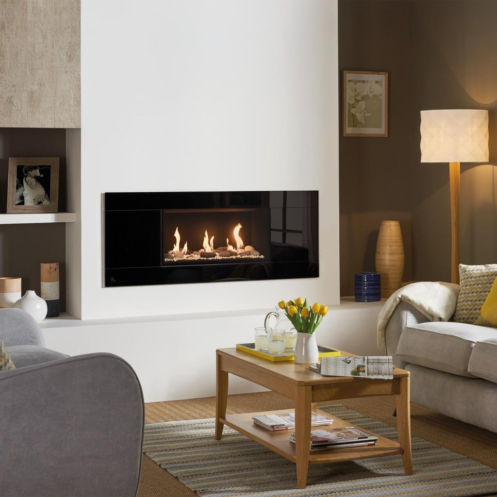 Gazco Gas Fires - Studio 1 Glass Fronted Inset, Black Glass Frame, Conventional Flue