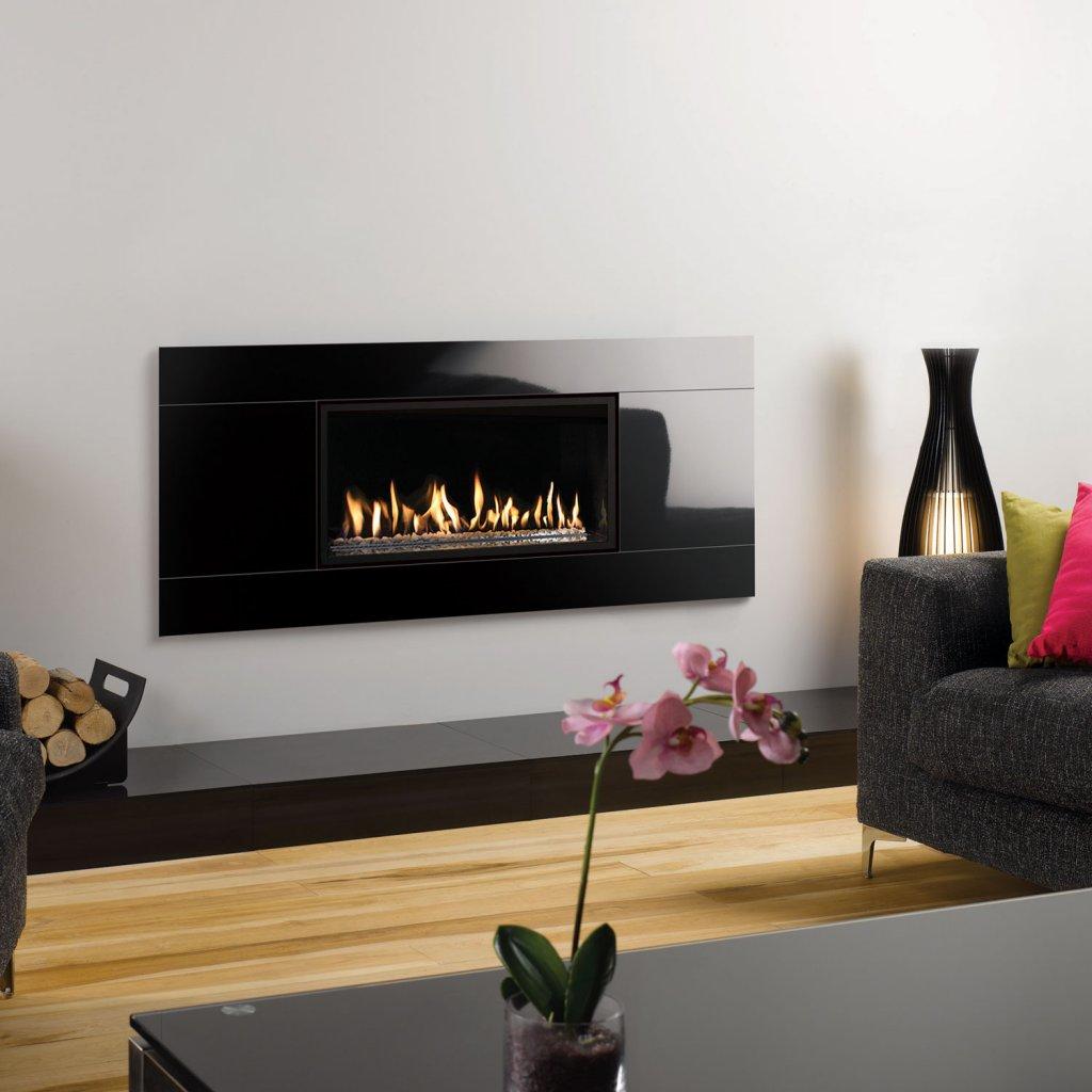 Gazco Gas Fires - Studio 1 Glass Fronted Inset, Black Glass Frame, Balanced  Flue
